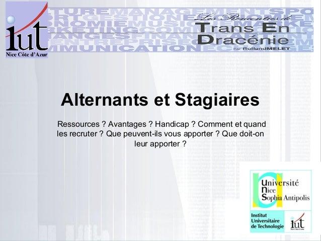 Présentation Alternance et stage, trans en dracénie nov 2012