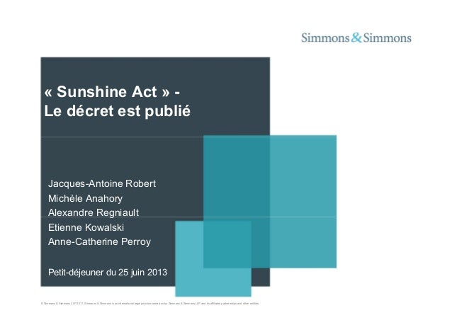 "Présentation ""Sunshine Act"" Simmons&Simmons 25/06/2013"