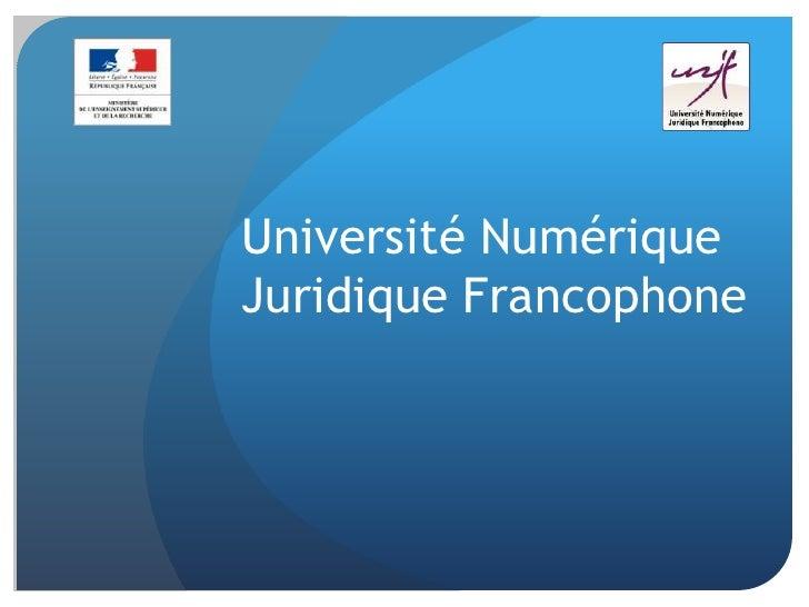 Université NumériqueJuridique Francophone