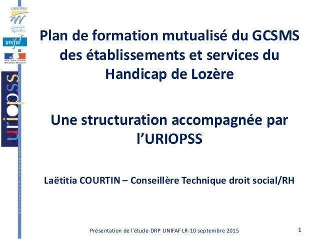1Présentation de l'étude-DRP UNIFAF LR-10 septembre 2015 Plan de formation mutualisé du GCSMS des établissements et servic...