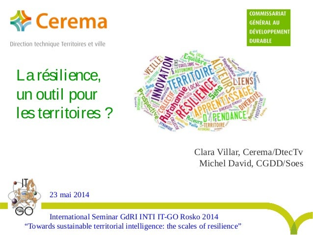 "Clara Villar, Cerema/DtecTv Michel David, CGDD/Soes International Seminar GdRI INTI IT-GO Rosko 2014 ""Towards sustainable ..."