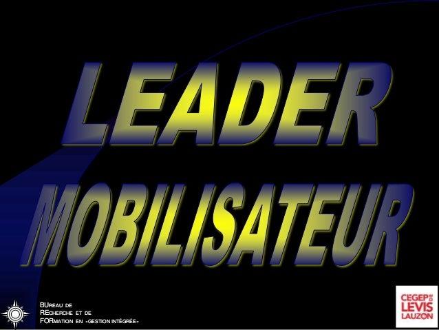 BUREAU DE RECHERCHE ET DE FORMATION EN «GESTION INTÉGRÉE» Leader mobilisateur BUREAU DE RECHERCHE ET DE FORMATION EN «GEST...
