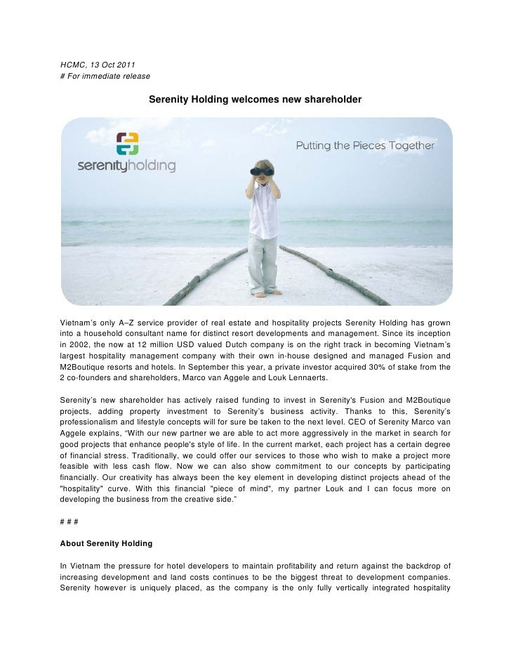 HCMC, 13 Oct 2011# For immediate release                        Serenity Holding welcomes new shareholderVietnam's only A–...