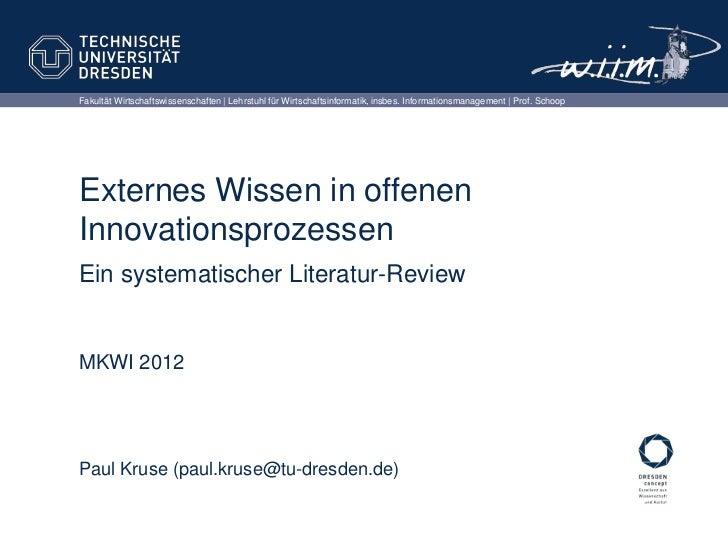 Fakultät Wirtschaftswissenschaften | Lehrstuhl für Wirtschaftsinformatik, insbes. Informationsmanagement | Prof. SchoopExt...
