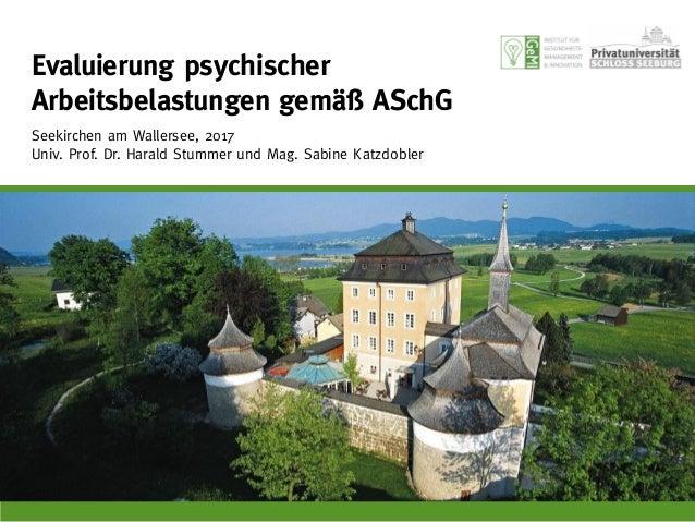 Evaluierung psychischer Belastungen gemäß ASchG 10. Juni 2015, Seekirchen am Wallersee Achim Hecker, Harald Stummer, Sabin...