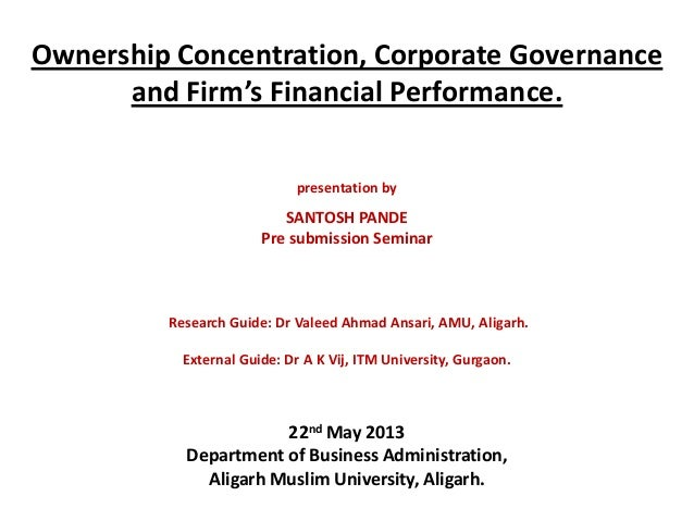 corporate governance and firm performance Because the effect of corporate governance on performance and risk may not materialize in 1 year (sun and cahan 2009), we used corporate governance data from 2008 to examine the effect of corporate governance on firm performance and risk in 2008 and 2009, respectively.