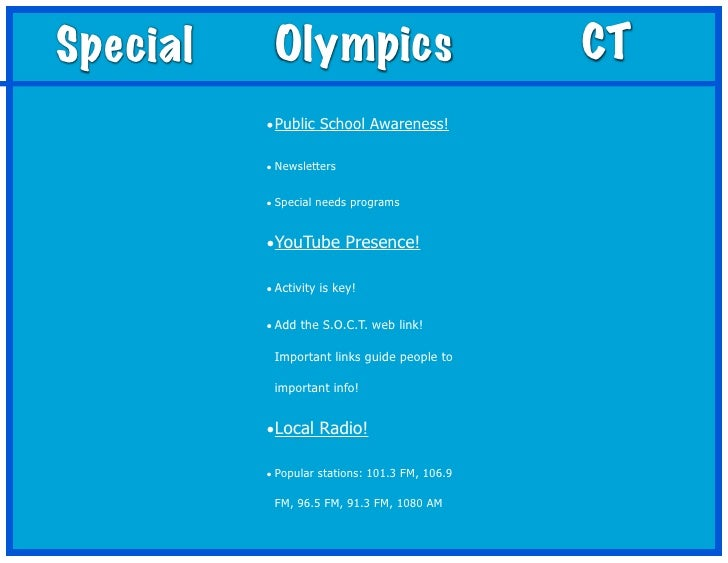 Special    Olympics                             CT          • Public School Awareness!          • Newsletters          • S...