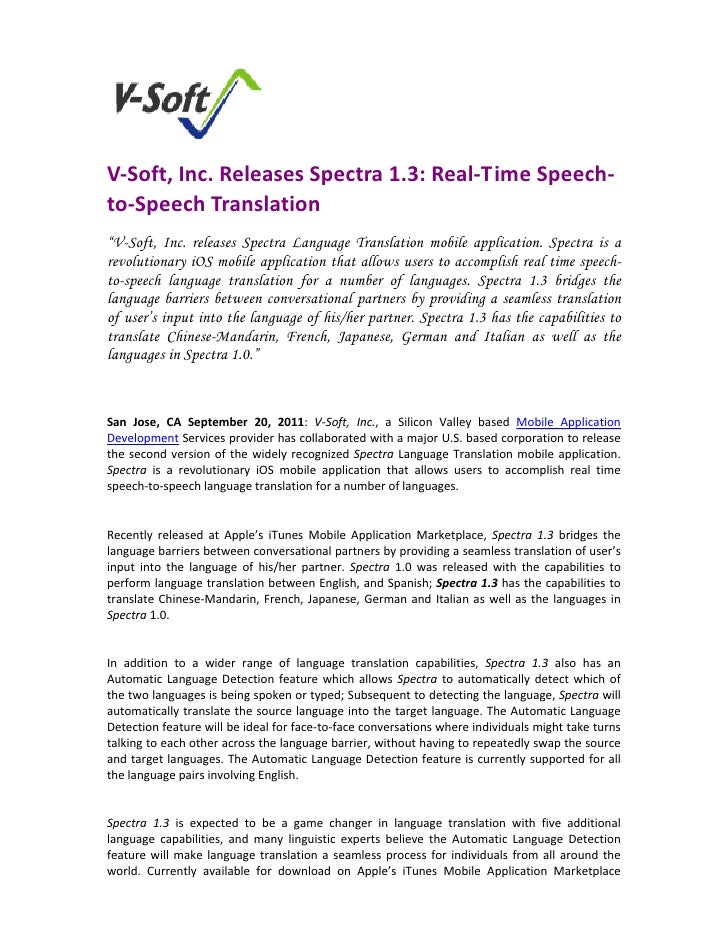 "V‐Soft, Inc. Releases Spectra 1.3: Real‐Time Speech‐to‐Speech Translation  ""V-Soft, Inc. releases Spectra Language Transl..."