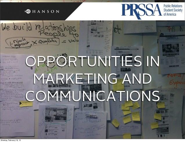 Presentation to UT PRSSA – Feb 2013