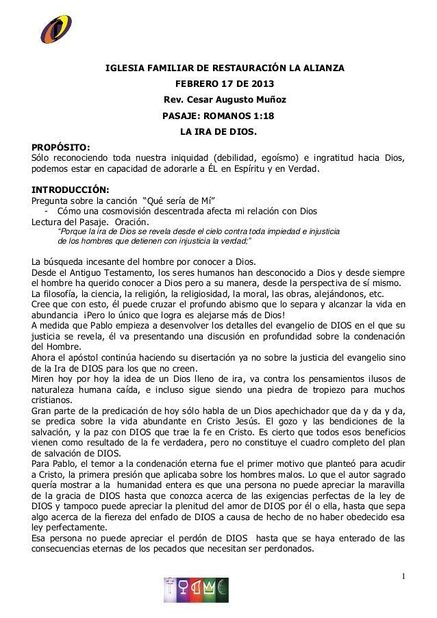 IGLESIA FAMILIAR DE RESTAURACIÓN LA ALIANZA                                       FEBRERO 17 DE 2013                      ...