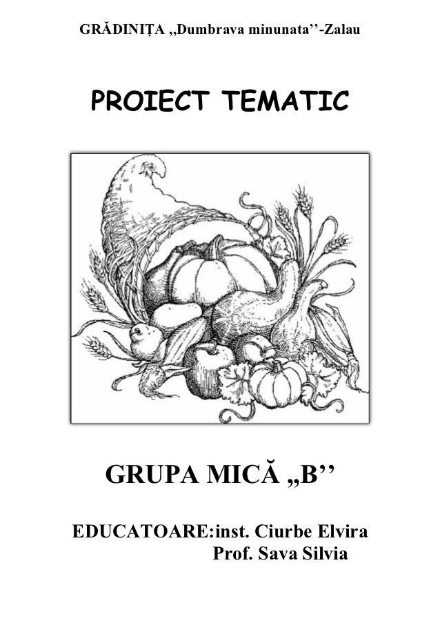 GRĂDINIŢA ,,Dumbrava minunata''-Zalau PROIECT TEMATIC   GRUPA MICĂ ,,B''EDUCATOARE:inst. Ciurbe Elvira           Prof. Sav...