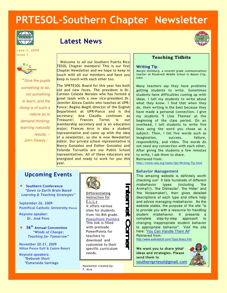 PRTESOL-Southern Chapter Newsletter                            Latest News June 3, 2009 Issue 1                           ...