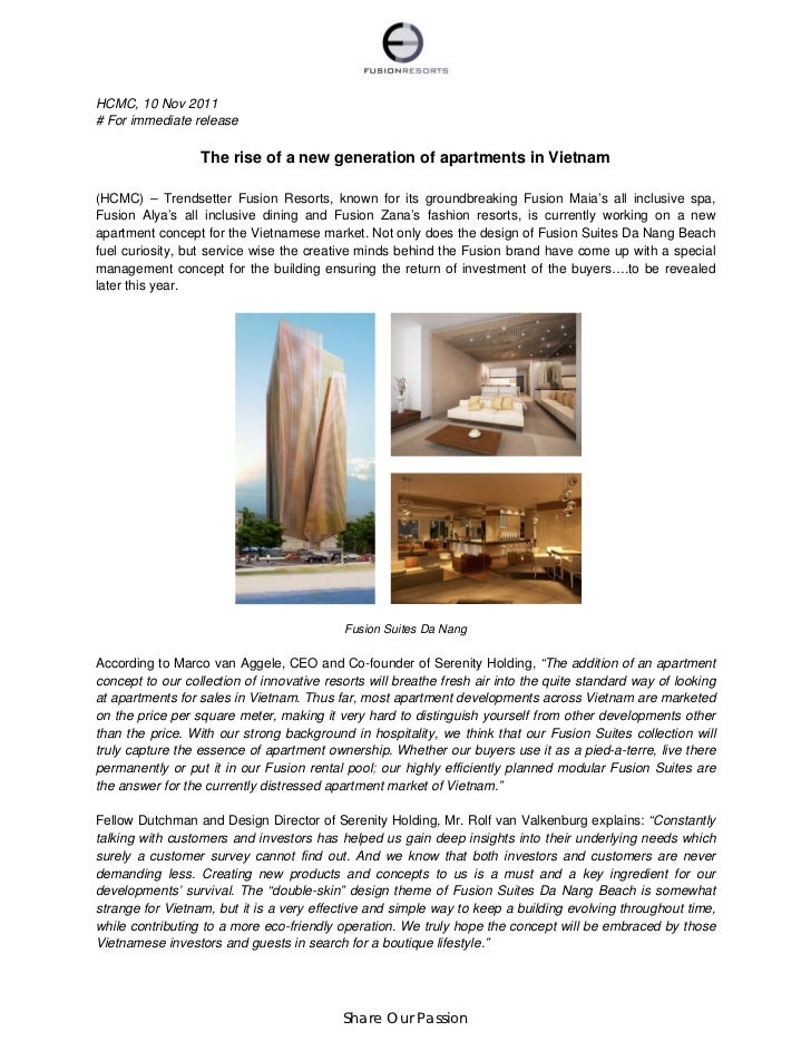 HCMC, 10 Nov 2011# For immediate release                  The rise of a new generation of apartments in Vietnam(HCMC) – Tr...