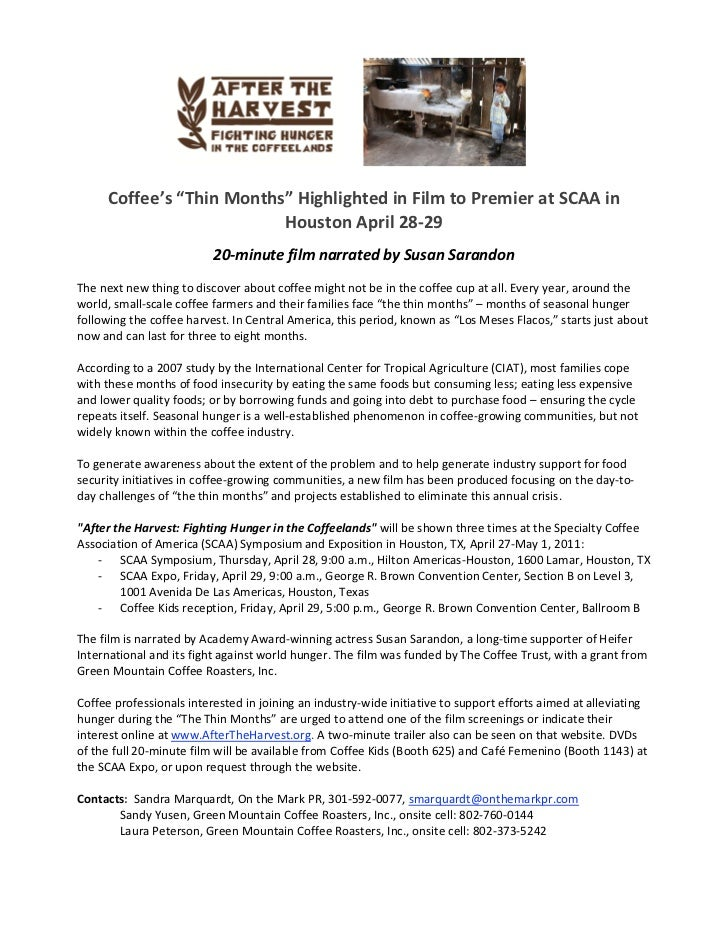 Press Release - After the Harvest Film Premiere at SCAA