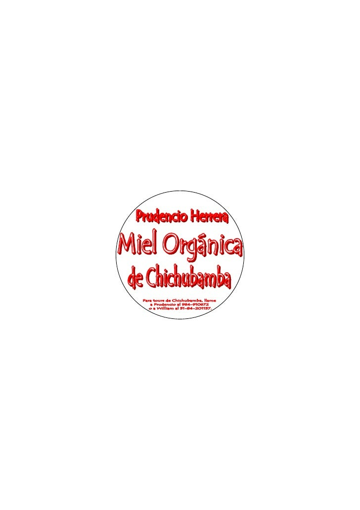Chichubamba Product Label- Prudencio's Honey