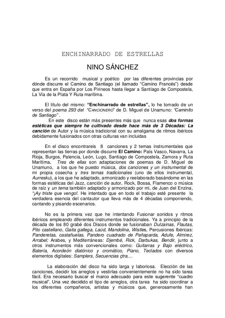 ENCHINARRADO DE ESTRELLAS                          NINO SÁNCHEZ      Es un recorrido musical y poético por las diferentes ...