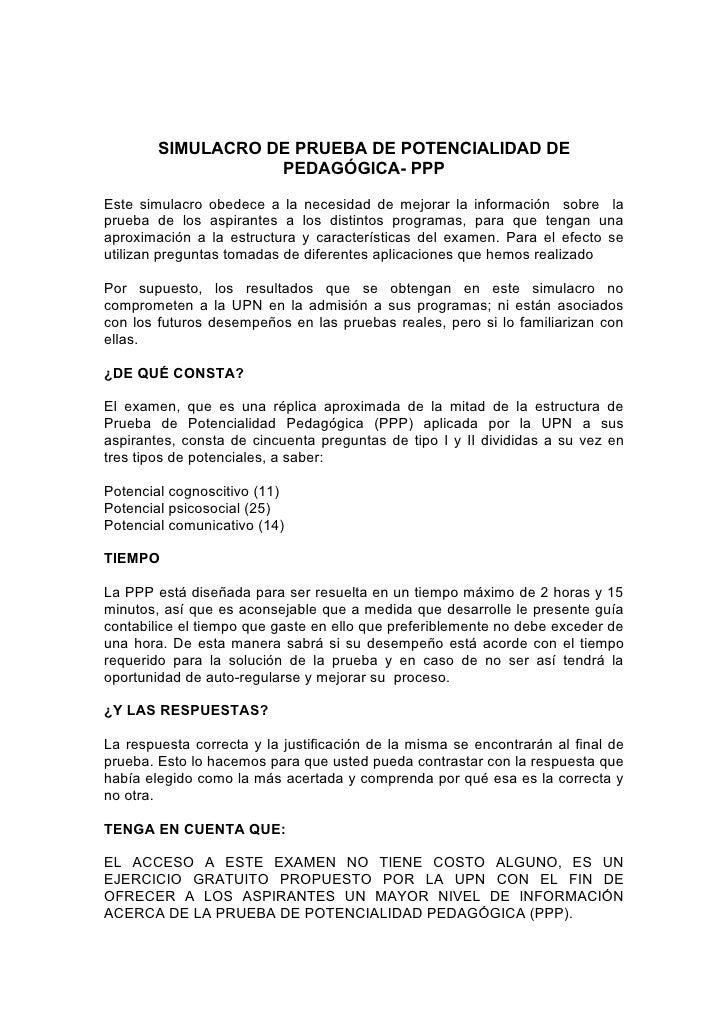 SIMULACRO DE PRUEBA DE POTENCIALIDAD DE                   PEDAGÓGICA- PPPEste simulacro obedece a la necesidad de mejorar ...