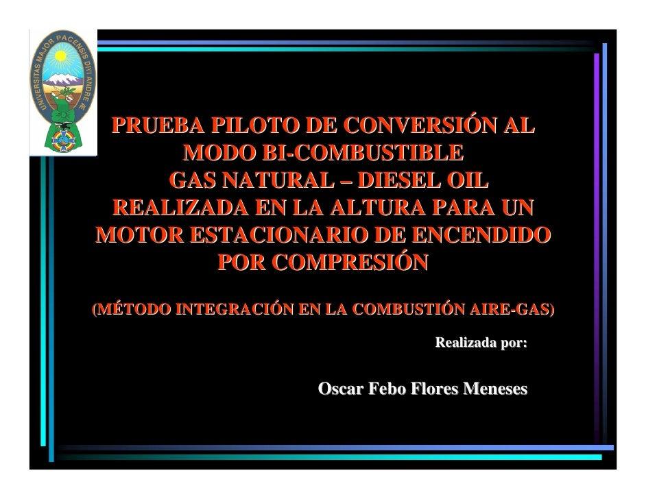 PRUEBA PILOTO DE CONVERSIÓN AL       MODO BI-COMBUSTIBLE      GAS NATURAL – DIESEL OIL  REALIZADA EN LA ALTURA PARA UN MOT...