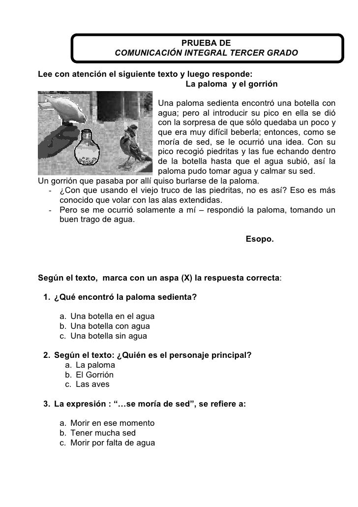 Prueba De 3 Tercer Bimestre Primaria | apexwallpapers.com