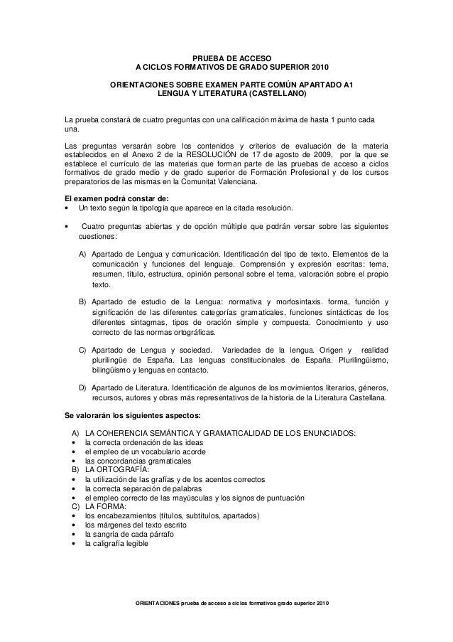 PRUEBA DE ACCESO                     A CICLOS FORMATIVOS DE GRADO SUPERIOR 2010              ORIENTACIONES SOBRE EXAMEN PA...