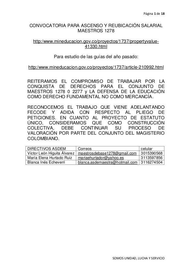 Página 1 de 18 CONVOCATORIA PARA ASCENSO Y REUBICACIÓN SALARIAL                 MAESTROS 1278   http:/www.mineducacion.gov...