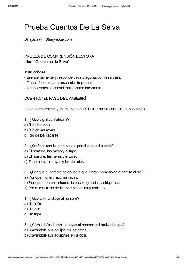 23/4/2015 PruebaCuentosDeLaSelvaInvestigacionesSylvia74 http://www.buenastareas.com/download/?id=19638330&token=...