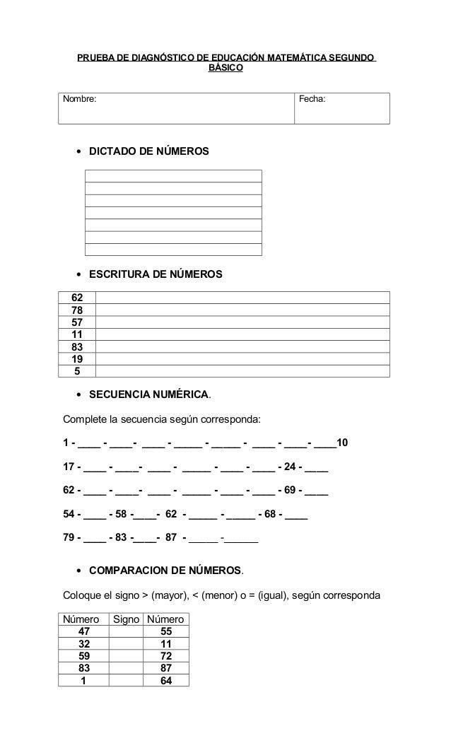 PRUEBA DE DIAGNÓSTICO DE EDUCACIÓN MATEMÁTICA SEGUNDO BÁSICO Nombre: Fecha: • DICTADO DE NÚMEROS • ESCRITURA DE NÚMEROS 62...