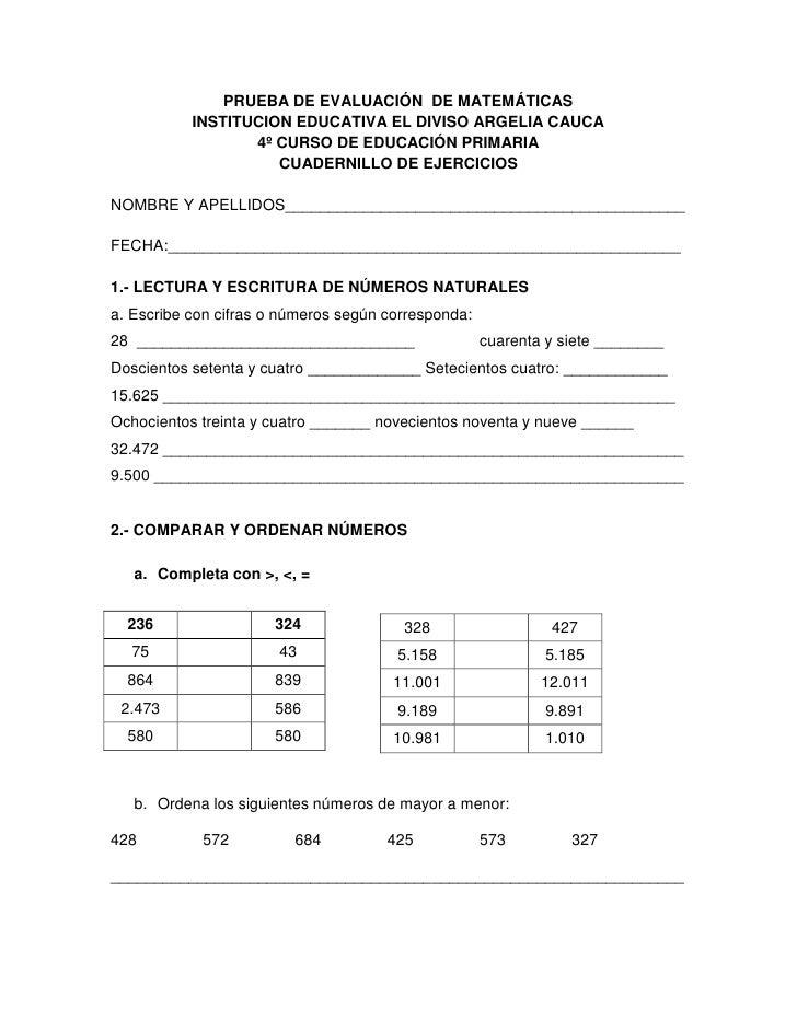 PRUEBA DE EVALUACIÓN  DE MATEMÁTICAS<br />INSTITUCION EDUCATIVA EL DIVISO ARGELIA CAUCA<br />4º CURSO DE EDUCACIÓN PRIMARI...