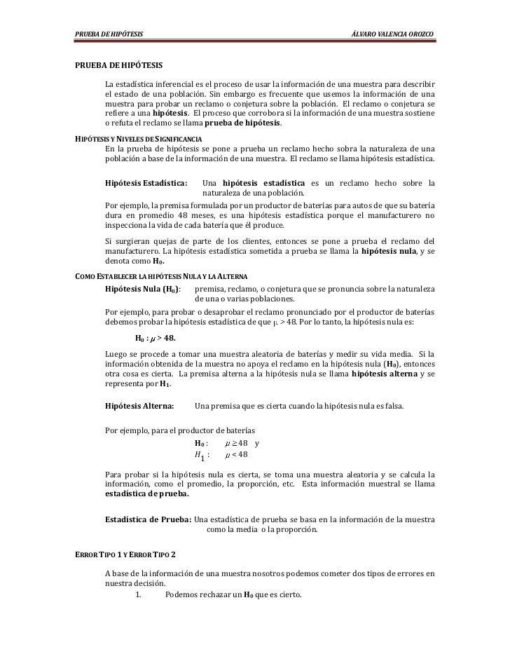 PRUEBA DE HIPÓTESIS                                                           ÁLVARO VALENCIA OROZCOPRUEBA DE HIPÓTESIS   ...