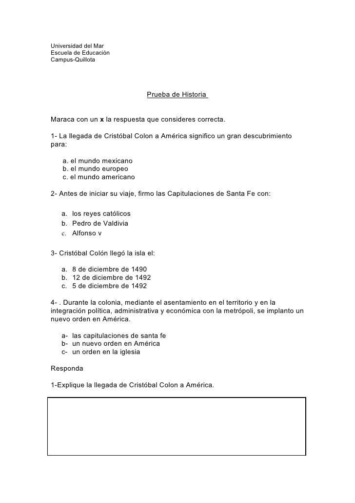 Universidad del Mar Escuela de Educación Campus-Quillota                                      Prueba de Historia   Maraca ...