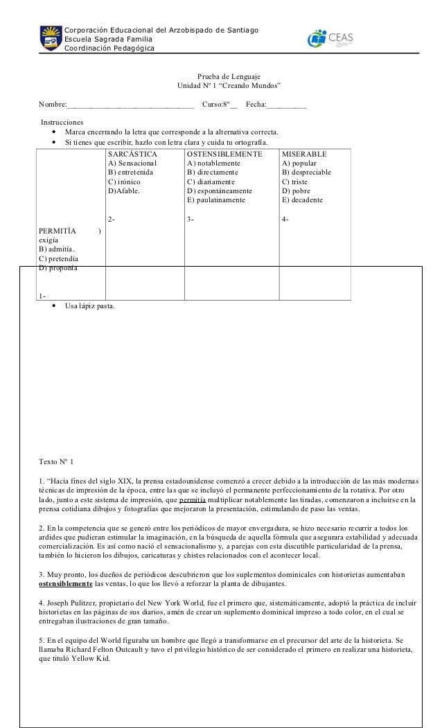 Corporación Educacional del Arzobispado de Santiago         Escuela Sagrada Familia         Coordinación Pedagógica       ...