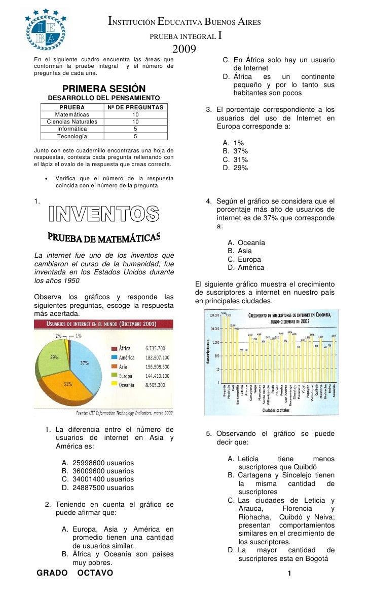 INSTITUCIÓN EDUCATIVA BUENOS AIRES                                            PRUEBA INTEGRAL     I                       ...