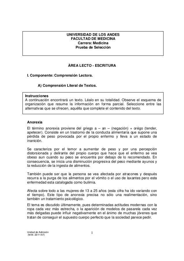 UNIVERSIDAD DE LOS ANDES º                          FACULTAD DE MEDICINA                               Carrera: Medicina  ...