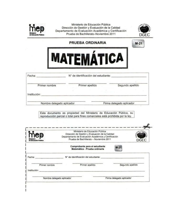 Prueba ordinaria matemática noviembre 2011