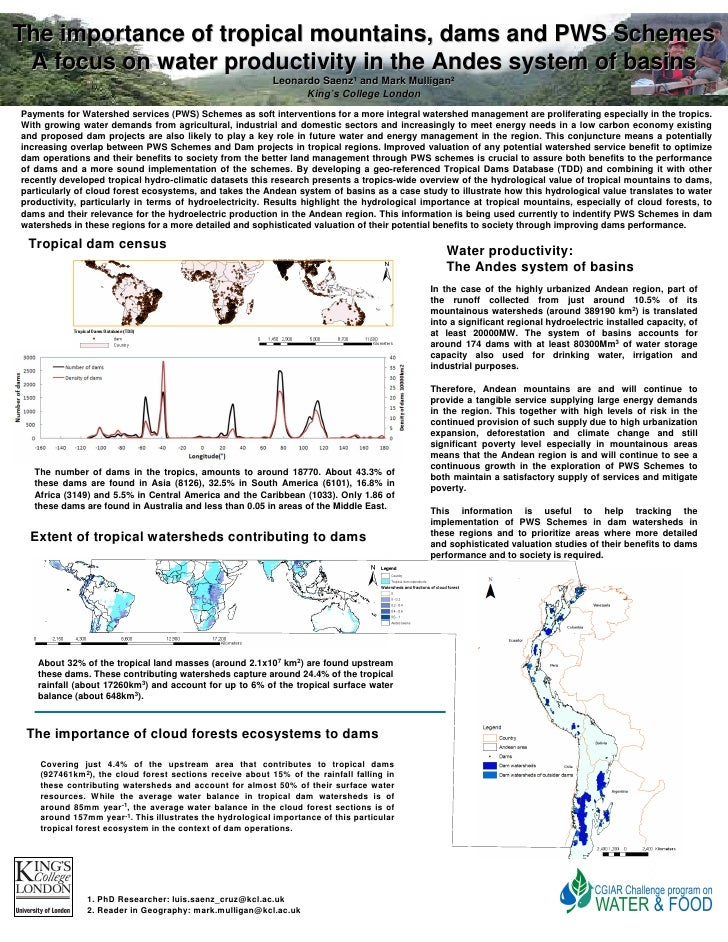 The importance of tropical mountains, dams and PWS Schemes  A focus on water productivity in the Andes system of basins   ...