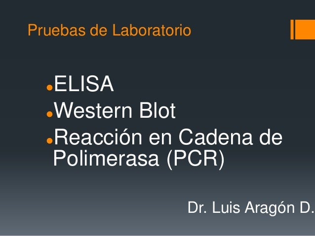 Pruebas de LaboratorioELISAWestern BlotReacción en Cadena dePolimerasa (PCR)Dr. Luis Aragón D.