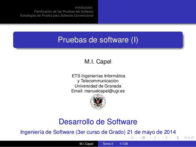 Introducción Planificación de las Pruebas del Software Estrategias de Prueba para Software Convencional Pruebas de software...