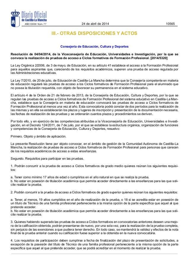 III.- OTRAS DISPOSICIONES Y ACTOS Consejería de Educación, Cultura y Deportes Resolución de 04/04/2014, de la Viceconsejer...
