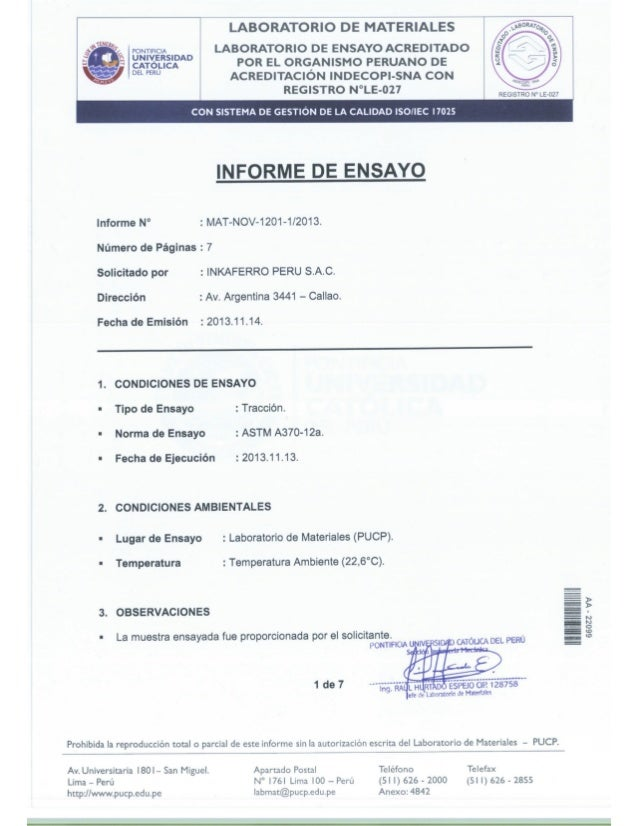 LABORATORIO DE MATERIALES  LABORATORIO DE ENSAYO ACREDITADO POR EL ORGANISMO PERUANO DE ACREDITACIÓN INDECOPI-SNA CON REGI...