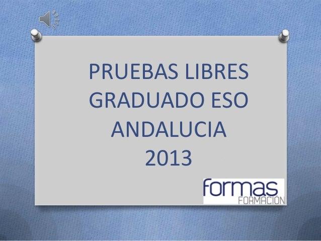 PRUEBAS LIBRESGRADUADO ESO  ANDALUCIA    2013