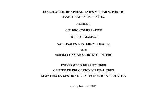EVALUCACIÓN DE APRENDIZAJES MEDIADAS POR TIC JANETH VALENCIA BENÍTEZ Actividad 1 CUADRO COMPARATIVO PRUEBAS MASIVAS NACION...
