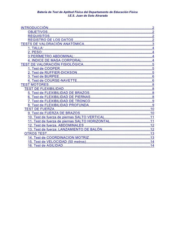 Batería de Test de Aptitud Física del Departamento de Educación Física                                      I.E.S. Juan de...