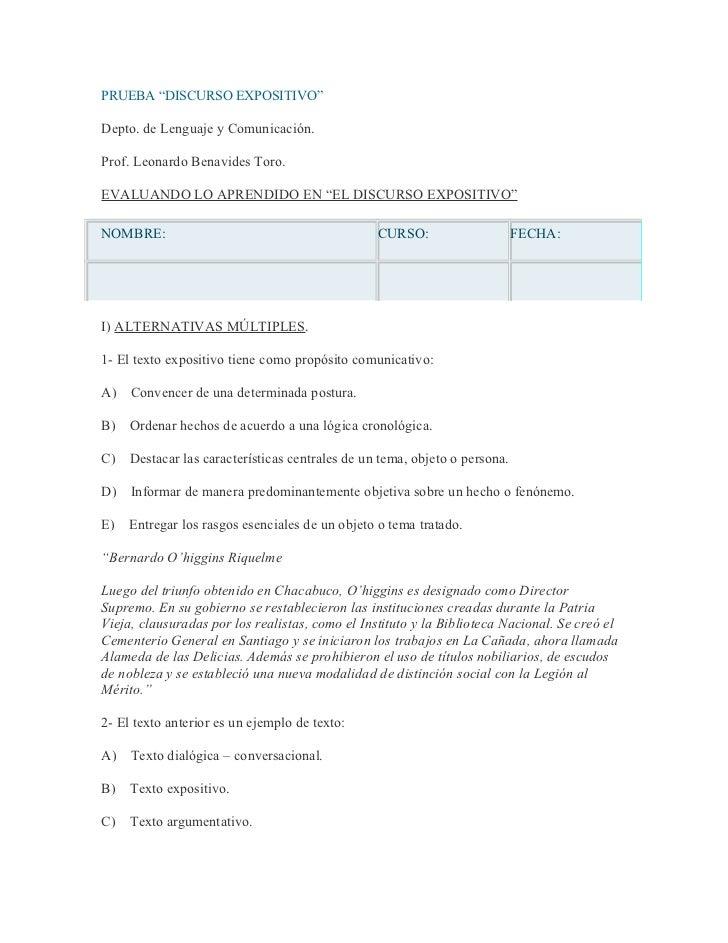 """PRUEBA """"DISCURSO EXPOSITIVO""""Depto. de Lenguaje y Comunicación.Prof. Leonardo Benavides Toro.EVALUANDO LO APRENDIDO EN """"EL ..."""