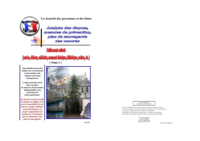 Prévention incendie et inondation 2012 musées monuments historiques tome 1