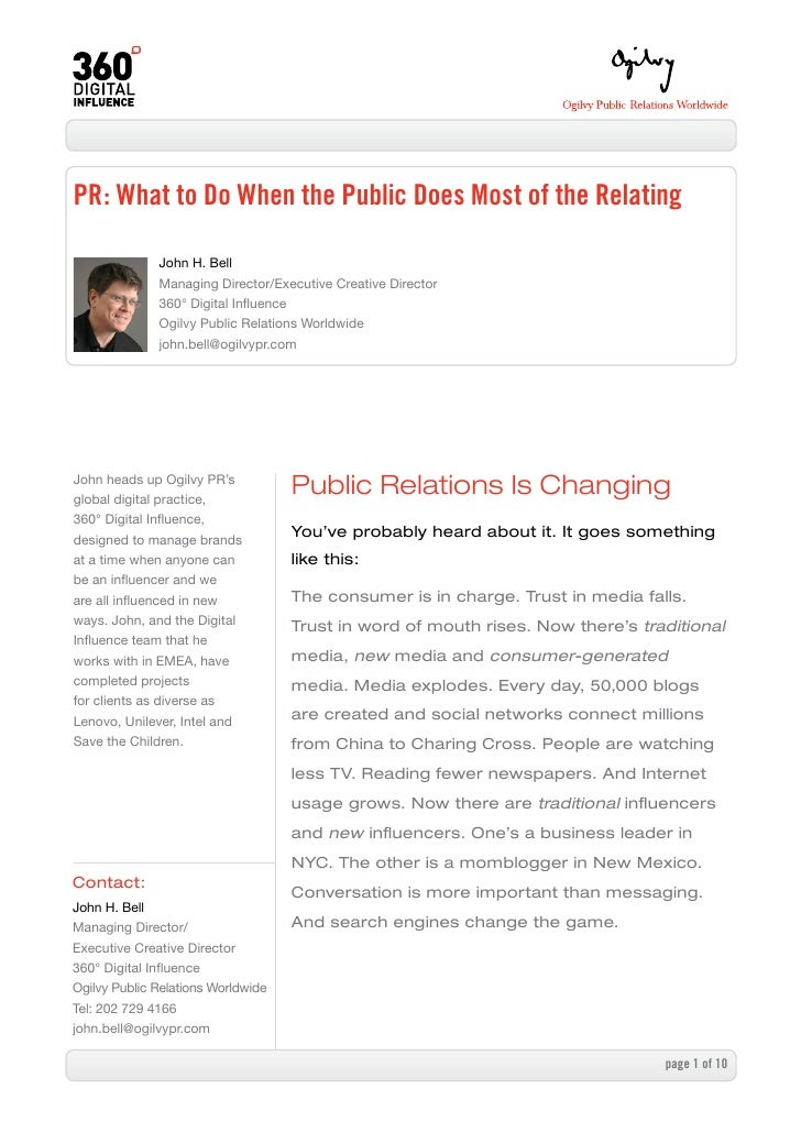 PR: What to Do When the Public Does Most of the Relating                John H. Bell               Managing Director/Execu...