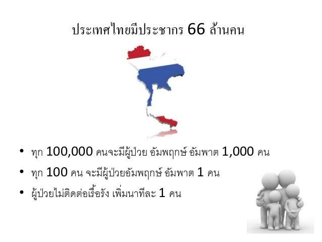 ประเทศไทยมีประชากร 66 ล้านคน • ทุก 100,000 คนจะมีผู้ป่วย อัมพฤกษ์ อัมพาต 1,000 คน • ทุก 100 คน จะมีผู้ป่วยอัมพฤกษ์ อัมพาต ...