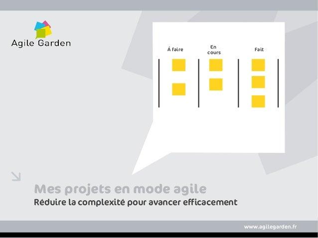wwww.agilegarden.frMes projets en mode agileRéduire la complexité pour avancer efficacementwww.agilegarden.frÀ faireEncour...