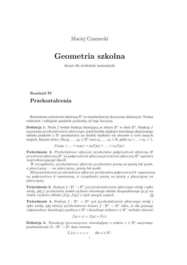 Geometria - przekształcenia