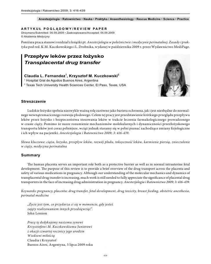 Przeplyw lekow przez lozysko