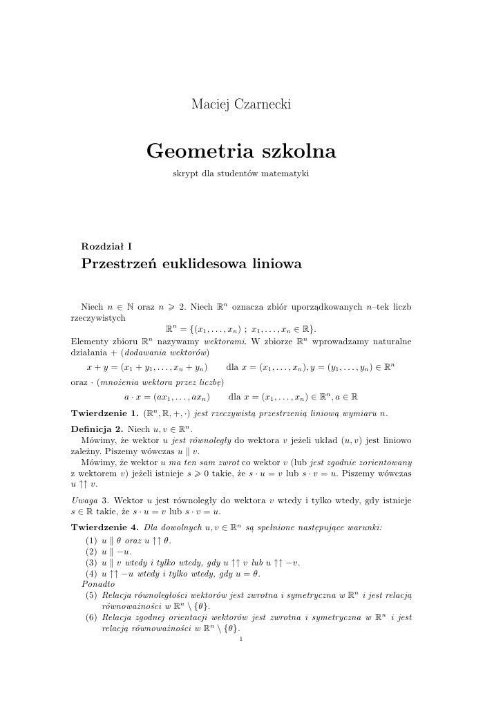 Geometria - przestrzeń euklidesowa liniowa